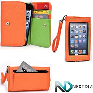 Smartphone Wallet for Micromax Ninja A54 with Exposed Screen to View Alerts |Tangerine Orange and Kiwi Green + NextDia Velcro Strap
