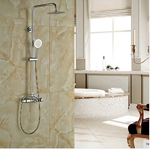 Gowe Thermostatic 8-in Round Shower With Hand Shower Bath Rainfall Shower Set Wall Mounted 1