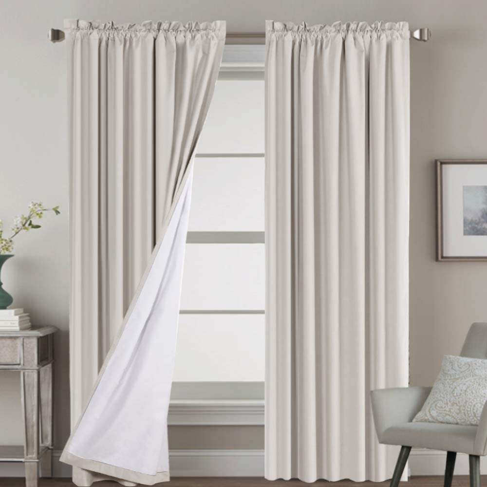 100% Blackout Curtains for Bedroom Window Treatment Curtain Thermal Insulated Curtains for Living Room Rod Pocket Drapes White Backing, 2 Panels with 2 Tie-Backs, 52 x 84 Inch, Natural