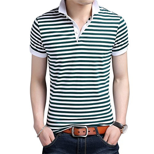Été Shirts Manche Courte Homme Men shirt Polo For Casual Rayures T Acmede Chemise Vert fzRyHcR8