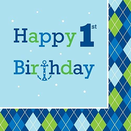 Amazon 16 Count Paper Lunch Napkins Ocean Preppy Boy Happy 1st Birthday Childrens Party Kitchen Dining