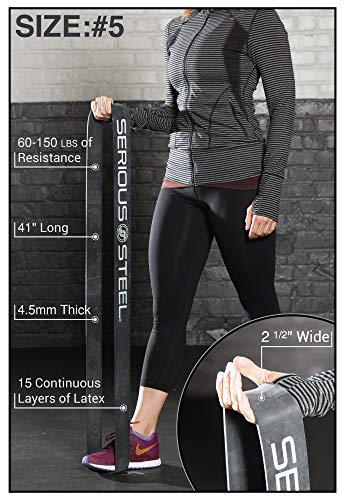 Serious Steel Fitness Black - #5 Strong Assisted Pull-up & Resistance Power Stretch Band (Size: 2.5 by Serious Steel Fitness (Image #2)
