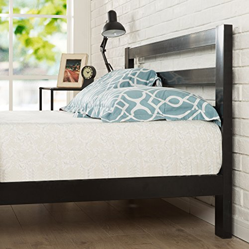 Zinus Arnav Modern Studio 10 Inch Platform 2000H Metal Bed Frame / Mattress Foundation / Wooden Slat Support / With Headboard / Good Design Award Winner, King