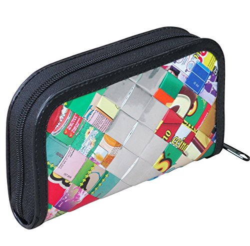 (Small zip wallet using candy wrappers - FREE SHIPPING, upcycled style vegan recycled reclaimed repurposed reused bag bags purse handbags gift for art student teacher artistic woven wraps wrap)