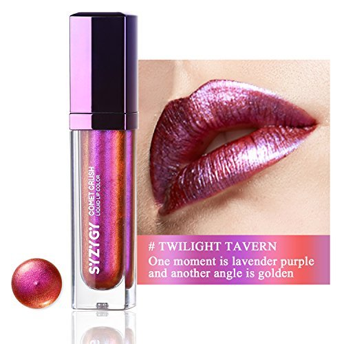 SYZYGY Liquid Lipstick, Duochrome Holographic Long Lasting Metallic Lip Color , Iridescent Glitter Lip Gloss,Twilight (0.21 Ounce Lip Stain)