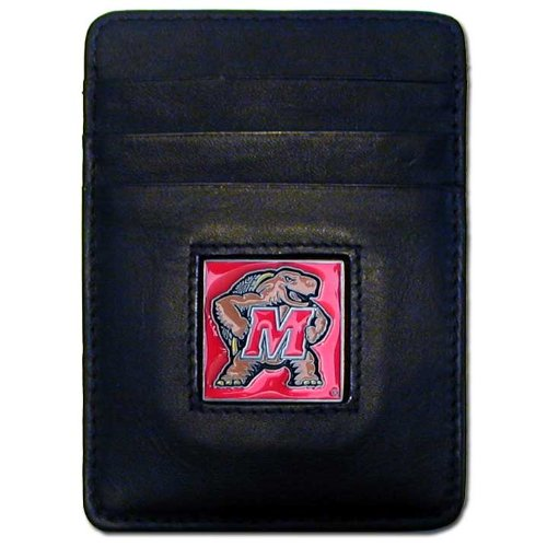 (NCAA Maryland Terrapins Leather Money Clip/Cardholder Wallet )