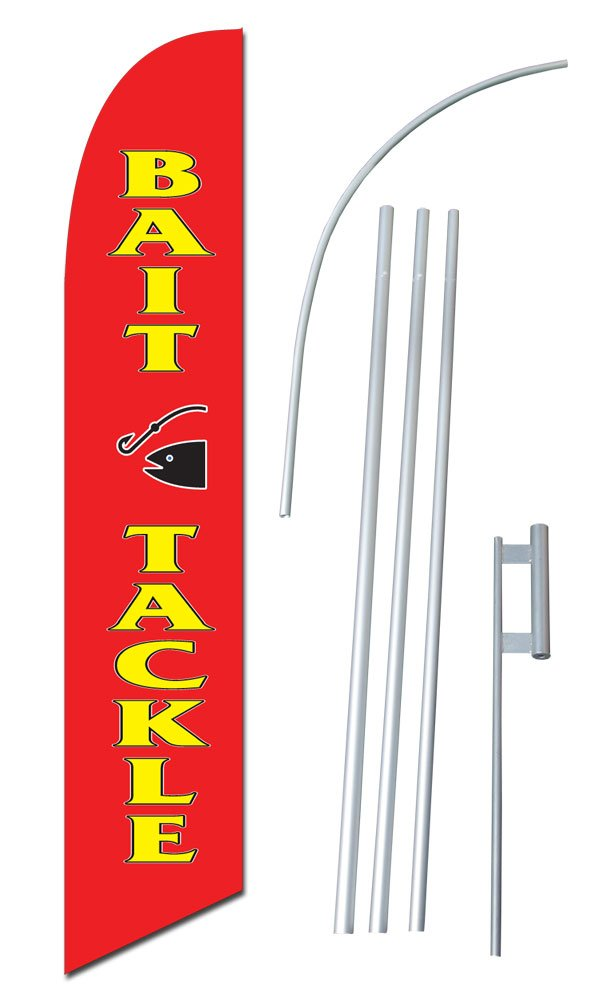 """Bait - Tackle"" 12-foot SUPER Swooper Feather Flag With Heavy-Duty 15-foot Pole and Ground Spike"