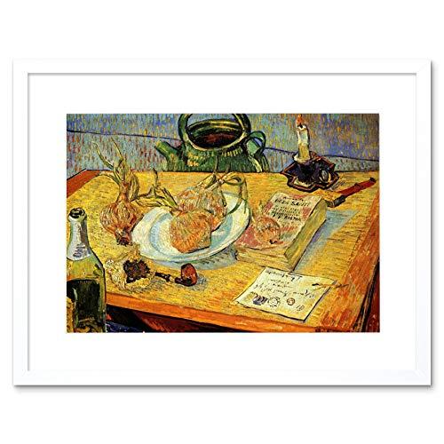 Painting Van Gogh Still Life Drawing Board Pipe Onions Framed Wall Art Print ペインティングヴァンゴッホまだ生活図壁