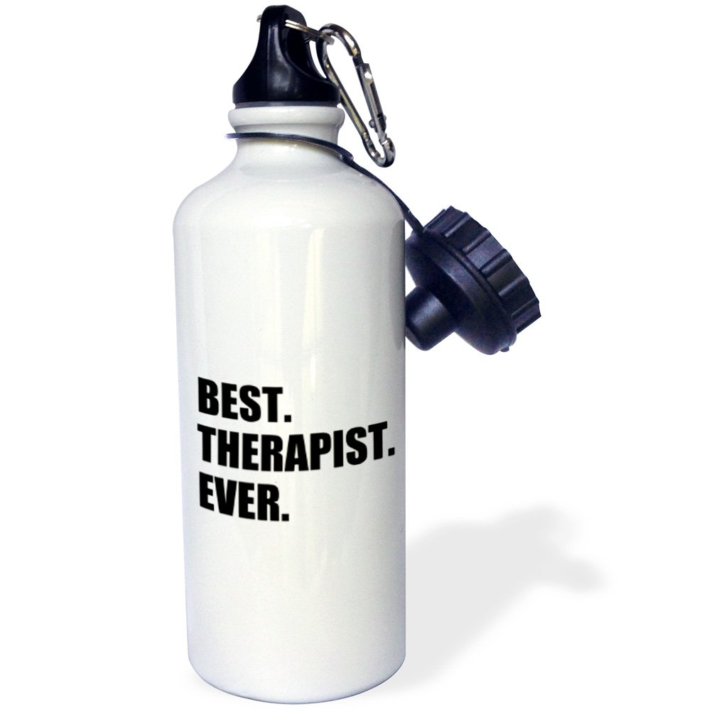 3dRose wb_185021_1 Best Therapist Ever, Fun Gift For Shrinks And Therapy Jobs, Black Text Sports Water Bottle, 21Oz, Multicolored