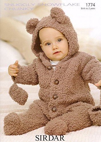 Sirdar Baby All in One Teddy Suit Snowflake Knitting Pattern 1774 Chunky Sirdar Yarn Patterns
