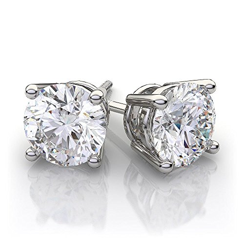 Large 2 Carat 6.00mm Round Moissanite Screw Back Prong Set solid 14K White Gold Stud Earrings ()