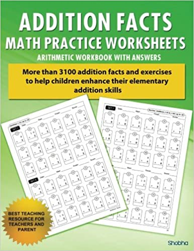 addition facts math practice worksheet arithmetic workbook with answers daily practice guide for elementary students elementary addition series volume - Addition Facts Worksheet