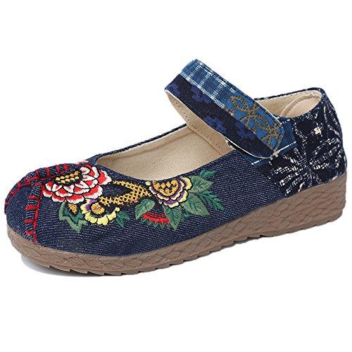 fondo DYF Mom tendine nudo stile di Blue scarpa biancheria Ricamo Dark piatto manzo nazionale qSqvrRTxw6