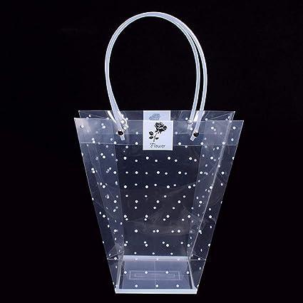 Sacchetto regalo di plastica trasparente per fiori e piante grasse, con manico