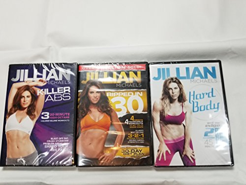 3 pack Jillian Michaels Hard Body, Ripped In 30, Killer Abs (Jillian Michaels Ripped In 30 Level 2)