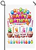 ShineSnow Celebrate Happy Birthday Cake Garden Yard Flag 12″x 18″ Double Sided, Balloon Candy Candle Strawberry Polyester Welcome House Flag Banners for Patio Lawn Outdoor Home Decor