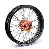 TARAZON 17'' Front Supermoto Wheel Kit Rim Orange Hub for KTM EXC SX SXS XC XC-W EXC-F SX-F SXS-F XC-F MXC EXC-R 125 150 200 250 300 350 400 450 500 505 520 525 530 540 with 26mm Axle Spacer