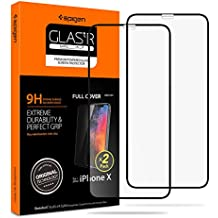 Spigen iPhone X Screen Protector Tempered Glass 2 Pack [ Edge to Edge Protection ] for Apple iPhone X (Pack of 2)