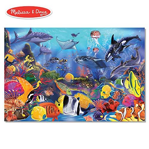 (Melissa & Doug Underwater Floor Puzzle (Extra-Thick Cardboard Construction, Beautiful Original Artwork, 48 Pieces, 2′ × 3′))