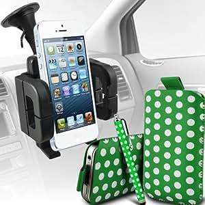 Wiko Ozzy Dual-Sim de Protección Premium Polka PU tracción Piel Tab Slip Cord En cubierta de bolsa Pocket Skin rápida Con Matching Large Stylus pen & Soporte universal de la succión del parabrisas del coche Vent Cuna verde y blanco por Spyrox