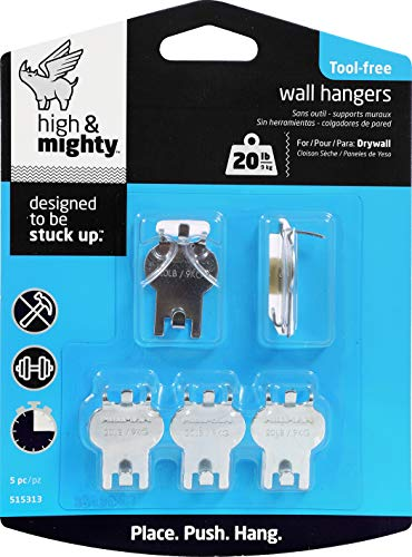 HIGH & MIGHTY 515313 Tool Free Picture Hanging Kit, 5 Pieces, 20LB Limit from High & Mighty