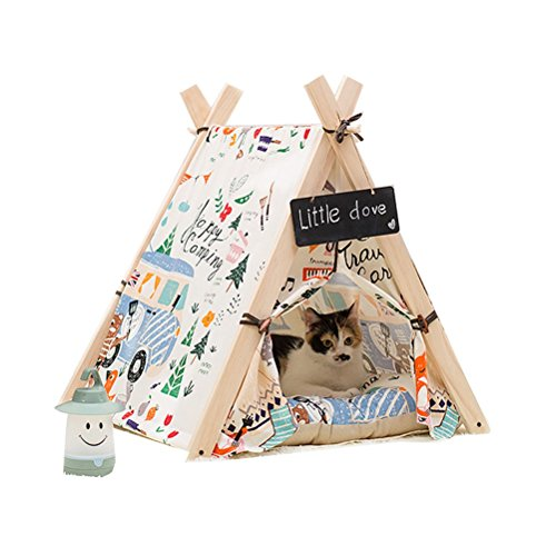 Free Love@square flower print design Pet Kennels Pet Play House Dog Play Tent Cat /Dog Bed with cushion