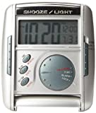 Seiko Travel Alarm Get Up and Glow Clock Silver-Tone Metallic Case