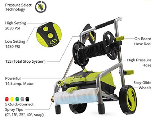 Sun Joe SPX4001 2030 PSI 1.76 GPM 14.5 Amp Electric Pressure Washer w/ Pressure Select Technology & Hose Reel by Snow Joe (Image #5)