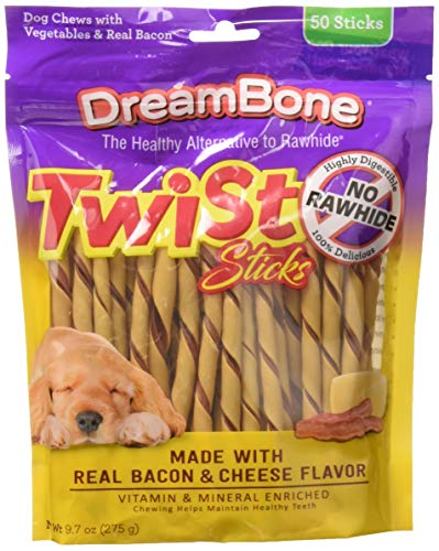 Dreambone Dbtt-02847 Bacon & Cheese Twist Sticks For Dogs ( 50 Count), One Size ()
