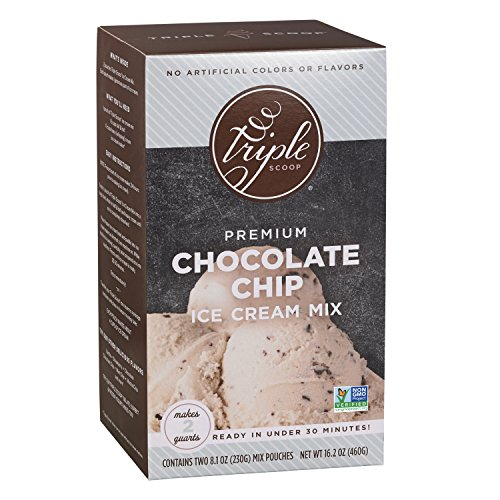 Chocolate Vanilla Chips - Triple Scoop Ice Cream Mix, Premium Vanilla Chocolate Chip, starter for use with home ice cream maker, non-gmo, no artificial colors or flavors, ready in under 30 mins, makes 2 qts (1 15oz box)