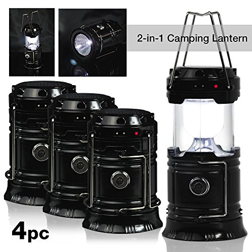 PARTYSAVING 4-Pack Camping Hiking 2-in-1 Solar Rechargeable LED Lantern with Dual Power Supply and Built-in Emergency Power Bank, APL1426 - Led Power Lantern