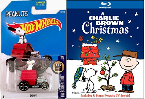 A Charlie Brown Christmas Blu Ray & Hot Wheels Snoopy - Charlie Brown Christmas - Red Baron car Animated Cartoon Movie Set