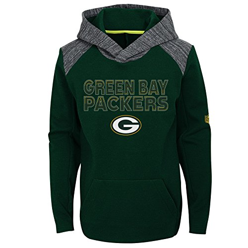 (NFL Green Bay Packers Youth Boys Engage Pullover Performance Hoodie, Hunter Green, Youth Large(14-16))