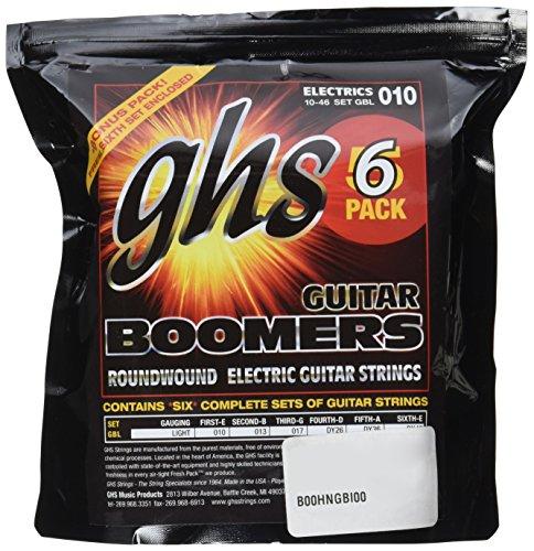 GHS Strings GBL-5 Guitar Boomers, Nickel-Plated Electric Guitar Strings, Light, 6 Pack (.010-.046)