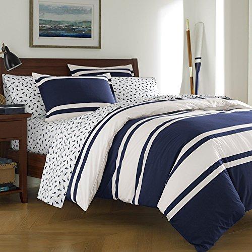 Poppy Bedskirt (Poppy & Fritz Rylan Rugby Stripe Comforter Set, Full/Queen, Navy)