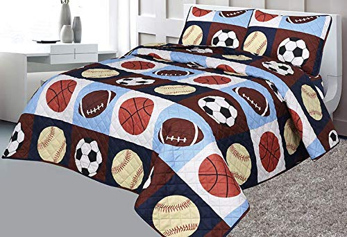 Golden Linens Full 3 Pieces Printed Navy, Sky Blue, Brown, Orange, Yellow Kids Sports Basketball Football Baseball American Football Kids Bedspread/Coverlet Sets/Quilt Set # 02 Quilt