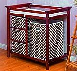 Baby Changer Tray Cabinet Diaper Changing Table Bumper Storage Box Hamper Set Newborn Top Dresser Tier Wooden Cherry & Ebook by AllTim3Shopping.