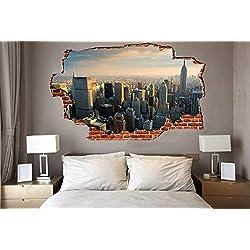 "Breaking Wall New York City Skyline Wall Graphic (37"" x 22"")"