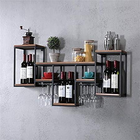 YJThjj Retro Wall Wine Shelf Metal Hierro para Bar |Portavasos de Vino de Madera |Puesto de vinos |Titular de Copa |Vinoteca de Pared |Estante para Cubos de Pared