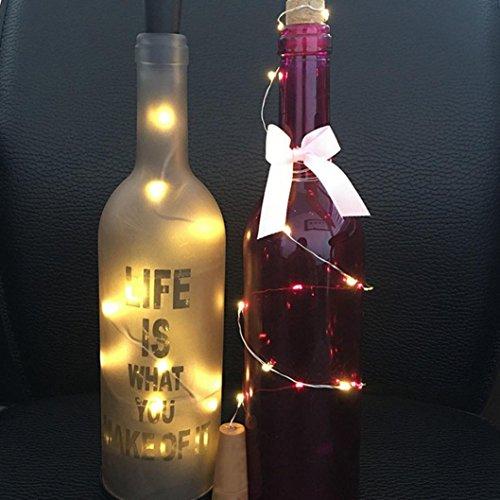 Kanzd Solar Wine Bottle Cork Shaped String Light 8 LED Night Fairy Light Lamp (10 Yellow)