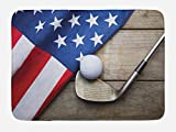 Lunarable Sports Bath Mat, Golf Ball with Flag of USA on Wood Table Patriotism Rustic Country Style, Plush Bathroom Decor Mat with Non Slip Backing, 29.5 W X 17.5 W Inches, Navy Blue Red Cocoa