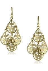 1928 Jewelry Filigree Teardrop Chandelier Earrings