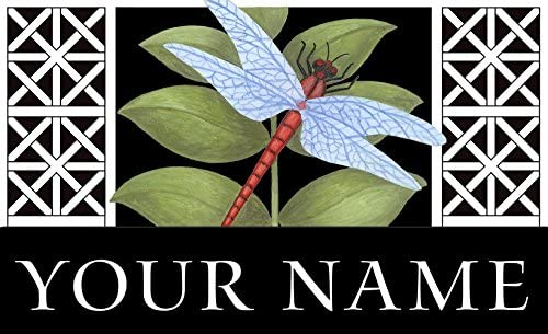 Toland – Dragonfly on Black Personalized Customizable Indoor Outdoor Welcome Door Mat USA-Produced