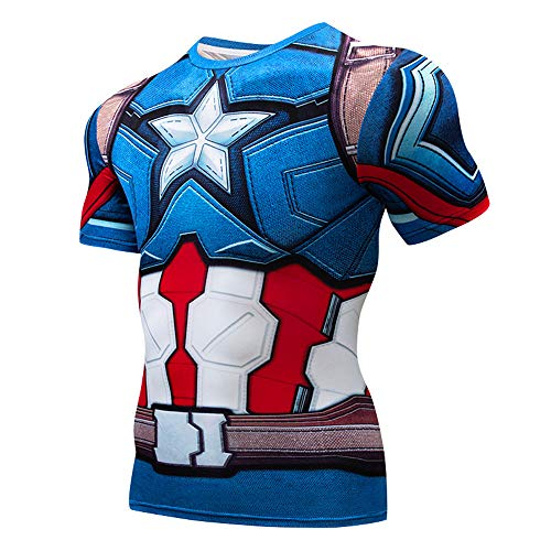 Quick Cool Dry Fit T-Shirt 3D Print Marvel Superhero Men's Compression Short Sleeve Sport Baselayer Pro Athlete -
