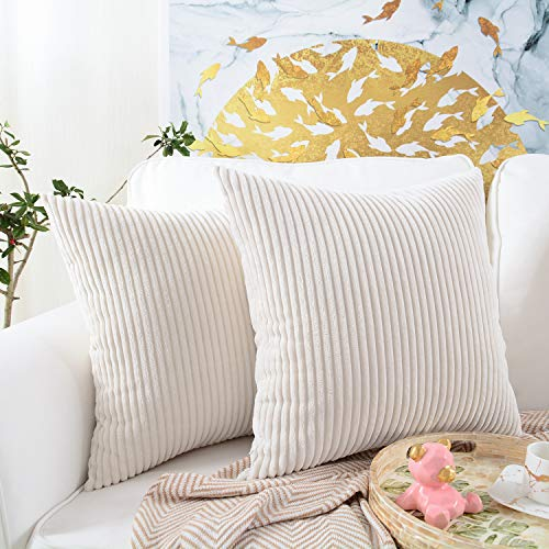 Decor Cushion Covers - MERNETTE Pack of 2, Corduroy Soft Decorative Square Throw Pillow Cover Cushion Covers Pillowcase, Home Decor Decorations for Sofa Couch Bed Chair 18x18 Inch/45x45 cm (Striped Cream)