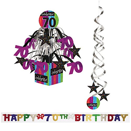 Happy 70th Party Decorations Supply Pack - Dizzy Danglers, Banner, and Centerpiece -