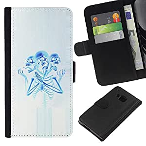 Be-Star la tarjeta de Crédito Slots PU Funda de cuero Monedero caso cubierta de piel Para HTC One M7 ( Skeleton Praying Blue White Spooky )