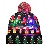 HULKAY Upgrade LED Light Up Beanie Colorful Hat Double Layered Soft Winter Warm Can Replaced Battery Cap(20)