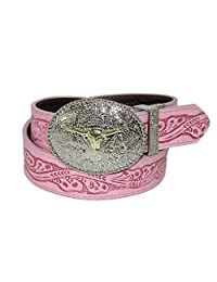 Rogers-Whitley Girls' Pink to Brown Reversible Western Belt, Medium