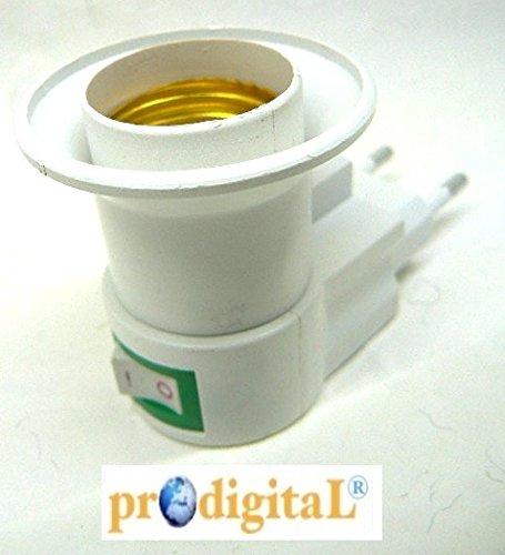 Prodigital - Adaptador porta bombillas E27 con enchufe e interruptor: Amazon.es: Iluminación